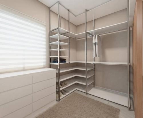 Closet aberto planejado com módulos bem definidos