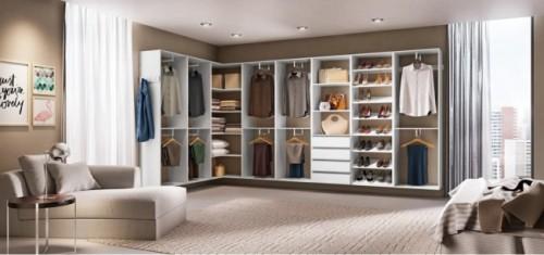 Closet branco grande em l
