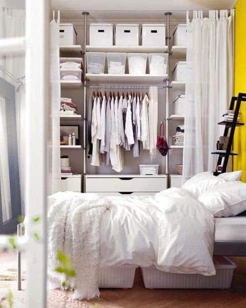 closet branco modulado com gavetas