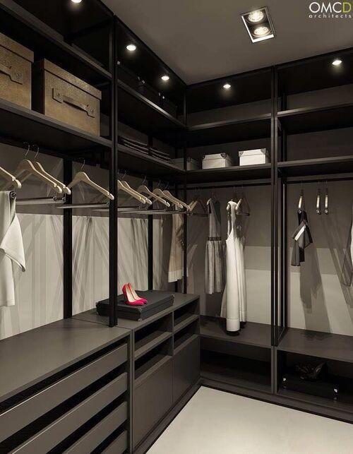 closet em cor escura modulado