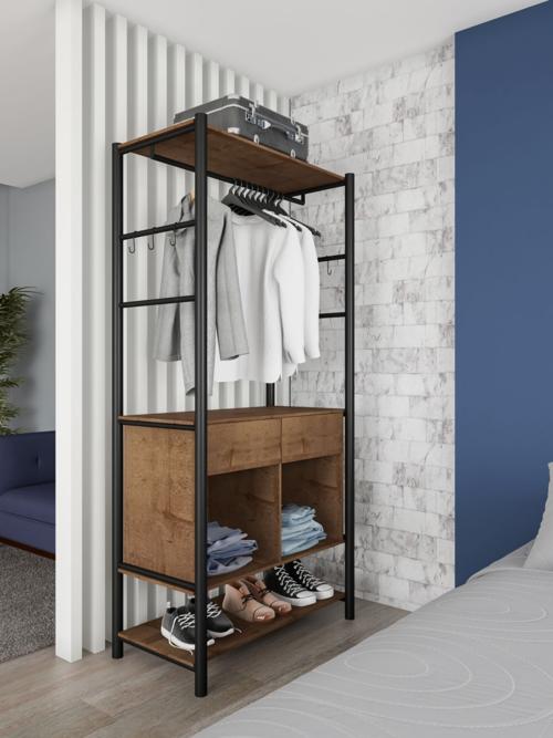 closet marrom pequeno e modulado
