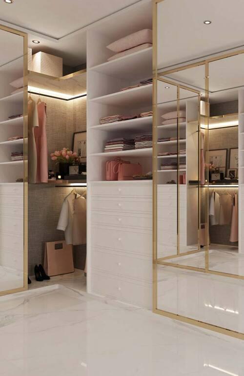 closet medio em branco com varios modulos